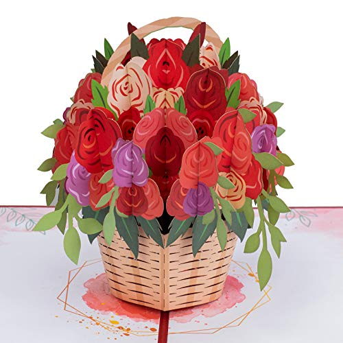 Paper Love Basket of Roses Pop Up Card, Handmade 3D Popup Greeting Cards for Valentines Day, Mothers Day, Wedding, Anniversary, Love, Romance, Thank You, Thinking of You, All Occasion | 5' x 7'