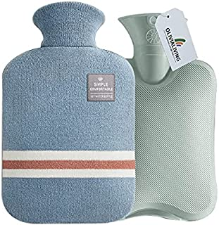 OliviaLiving Hot Water Bag Hot Water Bottle 2 Liter Heat Up and Refreezable Hot Cold Pack with Classic Striped for Pain Re...