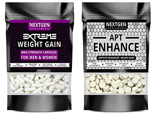 Nextgen Extreme Weight Gain Anabolic & APT Appetite Enhancer Stimulant Bundle Strongest Available, Quick Weight & Muscle Growth Pills, Made in The UK