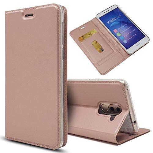 Huawei Honor 6X Hülle,Common Premium PU Leder Handyhülle [Ultra Slim] Brieftasche-Stil Magnetisch Flip Klapphülle [Transparenter TPU Stoßfänger] [Karte Halterung] Schutzhülle - Rosa