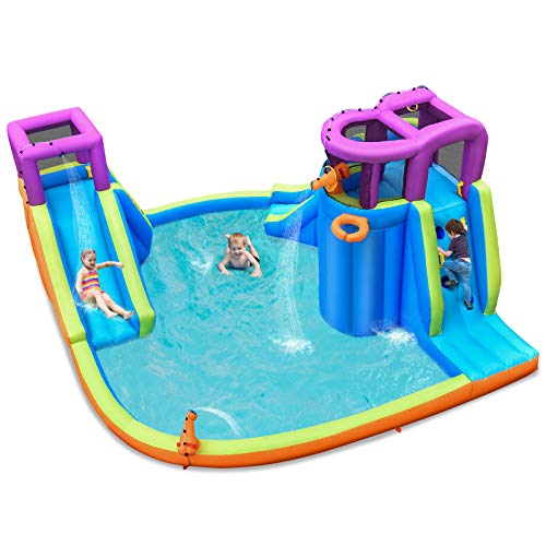 GYMAX Kids Bouncy Castle, Inflatable Jumper House Safety Jumping Water Park with Slides, Water Guns and Climbing Wall