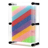 IUUWTMV 3D Pin Art Toy Unique Plastic Pin Art Board Sculpture Pins Craft Toys for Kids and Adult Large Size 6 x 8 inches (Rainbow)
