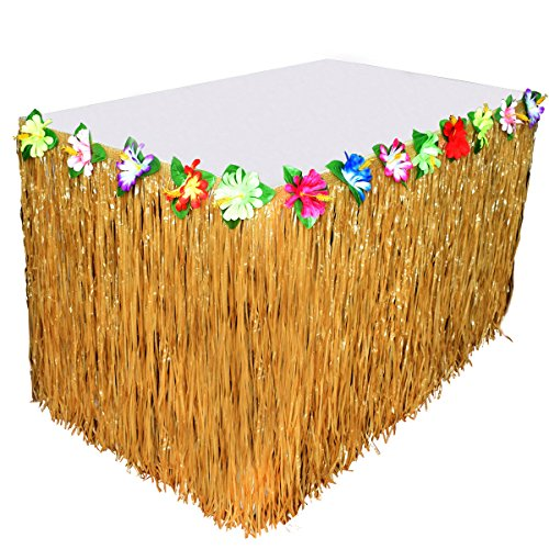 BROSHAN Hawaiian Party Decoration for Table, Tropical Luau Hibiscus Grass Table Skirt with Artificial Colorful Flowers for Thanksgiving Christmas Holiday Celebration Yellow