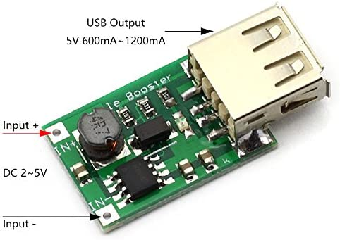 DZS Elec 2pcs Mini DC 2-5V to 5V 600mA-1200mA USB Output Step-up Charging Module Battery Converter for Mobile Mp3 Phone Charging DIY Power Supply Charger