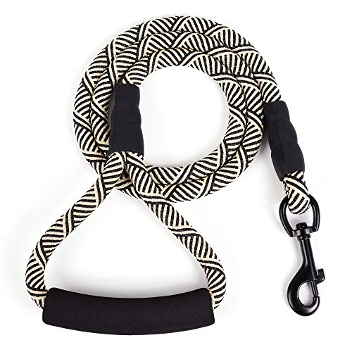 Mile High Life Mountain Climbing Nylon Dog Rope Leash with Soft Handle 4 Feet (Black White)