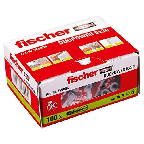 Fischer 555006 taco de nylon, Gris/Rojo, 6x30, Set de 100 Piezas