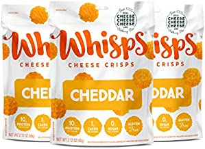 Whisps Cheddar Cheese All Natural Cheese Crisps - Great Tasting Healthy Snack - Keto Friendly - High Protein - Low Carb - Gluten & Sugar Free - 3 Count (2.12oz)