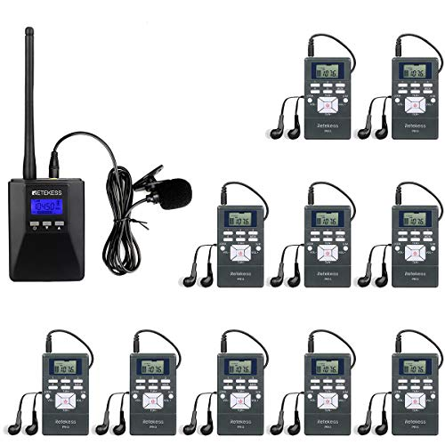 Retekess TR506 Portable Mini Transmitter with 10 PR13 Portable FM Radio Receivers, Church Translation System, Wireless Tour Guide System for School, Training, Factory