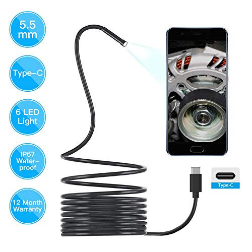 Borescope for USB C Android, Teslong 5.5mm Type C HD Endoscope Waterproof Sewer Camera Semi Rigid Snake Camera Micro Inspection Camera with 6 LED Lights (16.5ft)
