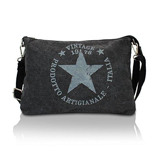 Glamexx24 Damen Clutches Tasche Handtaschen Schultertasche Umhaengetasche mit Stern Muster Tragetasche TE201614, B x H x T : 28 x 20 x 1-3 cm, Schwarz