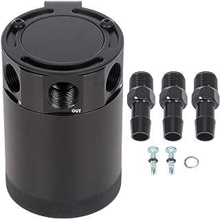 ECCPP 250ML Universal Aluminum Engine Oil Catch Tank Can Polish Baffled Reservoir 3-Port Air-Oil Separator Black