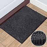 HOMEIDEAS Durable Chenille Indoor Doormat, 20'x32', Machine Washable, Non Slip Indoor Mat for Entryway, Absorbent Inside Doormats for Entrance, Mud Room, Back Door, Bathroom, Dark Gray, Charcoal