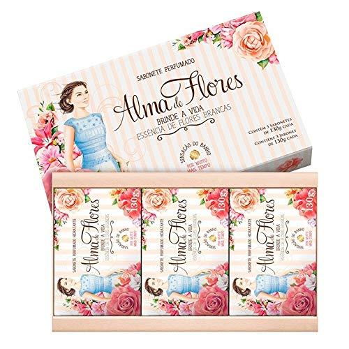 Estojo 3 Sabonetes Alma de Flores Essência de Flores Brancas, de 130G Cada., Alma de Flores