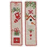 Vervaco Weinachtlich 2er Set Marcapáginas, diseño de Punto de Cruz, algodón, Multicolor, ca. 6 x 20 cm / 2,4' x 8'