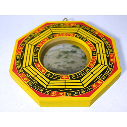 Dragon Bagua Spiegel konvex ca. 10,5cm Holz Feng Shui traditionelles Schutzschild China