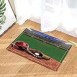 Baseball Sport Decor Un giocatore Hat Guanto e una palla sul campo da bagno Tappeti per bagno Antiscivolo Pavimenti ingressi esterni coperta porta interna Stuoia per bambini Tappetino da bagno60X40CM