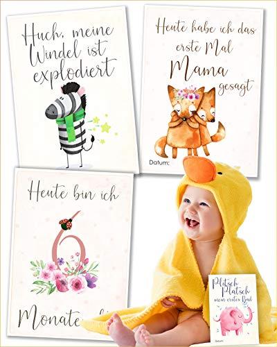 JANEYO - 70 motieven mijlpaalkaarten voor babys mijn eerste jaar - voor meisjes en jongens voor de geboorte - mijlpaalkaarten in het Duits - babykaarten, Milestone kaarten, geschenken voor zwangere vrouwen en mamas