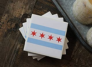 Chicago Flag Coasters, Chicago Coasters, Chicago, Coasters, Tile Coasters, Drink Coasters, Handmade Coasters, Coaster Set of 4, Chicago Flag