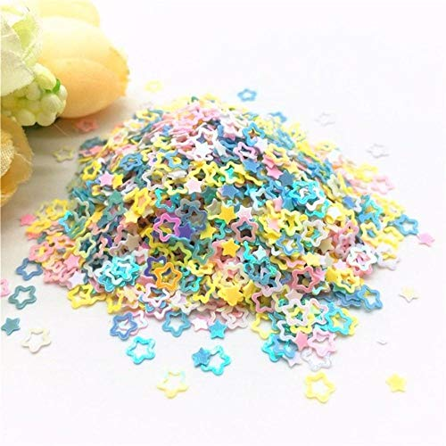 Mix Geel Wit Roze Blauw Nagel Pailletten 1-5mm Ster Hart Bloem PVC Losse Pailletten DIY Nail Art Confetti Decor 10 / 20g, 4mm Holle Pruim, Mix YE WH PK BU 20g