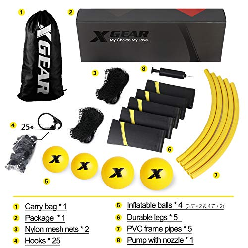 XGEAR Volleyball Spike Battle Ball Standard 4 Ball Kit, Upgraded Stronger Playing Net, Sturdy Legs,Includes Standard Set, 2 Nylon Mesh Nets,1 Pump,1 Carry Bag- Fun for All