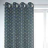 SCHÖNER LEBEN. Vorhang Art Deco Rauten Retro türkis schwarz goldfarbig 245cm oder Wunschlänge, Gardinen Aufhängung:Ösen