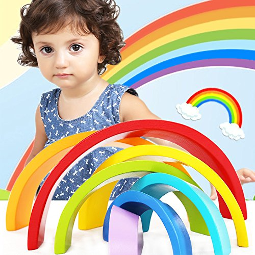 TOOGOO Blocs de construction en bois de couleur arc-en-ciel des jouets educatifs pour enfants, jouets creatifs des enfants de l'education de la petite enfance