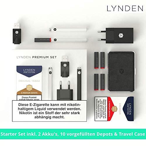 Exklusiv LYNDEN Premium Set E-Zigarette Set Einstiger Bestseller inkl. Travel Case & 2 x 5 Depots mit verschiedenen Geschmäcker (2 x Original Tabak, Weiß (Standart)) ohne Nikotin