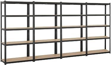Topeakmart Adjustable 5-Shelf Garage Shelves Metal Storage Rack Shelving Unit Display Rack 71in Height, 4 Packs