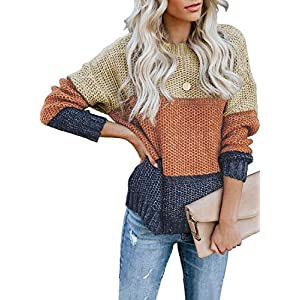 Women's  Oversized Crew Neck Sweaters Pullover Knitted Jumper