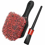 wheel brush cleaner - Wheel & Tire Brush, Soft Bristle Car Wash Brush, Free Detailing Brush, Cleans Dirty Tires & Releases Dirt and Road Grime, Short Handle for Easy Scrubbing