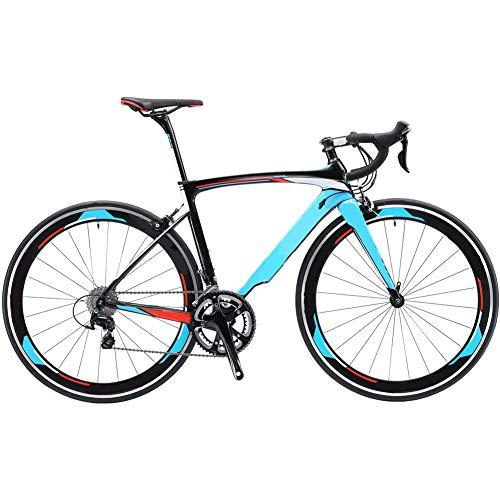 ZXL Bici da Strada, Warwinds3.0 Bici da Corsa in Carbonio Bici da Corsa Bici da Strada in Fibra di Carbonio 700C con Cambio a 18 velocità e Doppio Freno a V,Blu