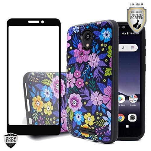 MyFavCell Compatible Case for Alcatel TCL A1 4G Case 5' A501DL, Alcatel Insight, with [HD Tempered Glass Screen Protector], Elegant Design Case for Women Girls [Shockproof] (Elegant Colorful Flower)