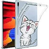 ZhuoFan Funda para Samsung Galaxy Tab S6 Lite 10.4 (SM-P610/SM-P615), Case Carcasa Silicona Transparente TPU con Dibujos Antigolpes Cover Piel de Protector Tableta para Samsung Tab S6 Lite, Gato 2