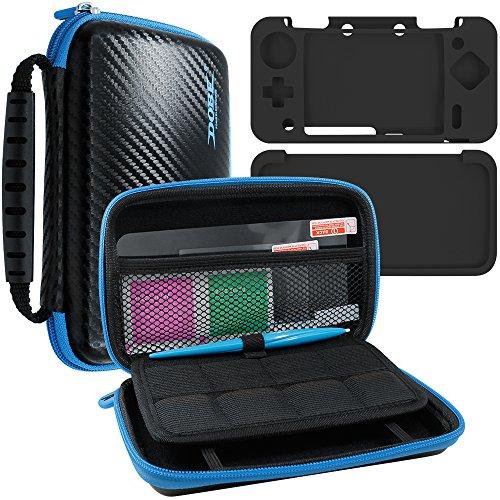 AFUNTA 4 in 1 Kit Protettivo per Nintendo New 2DS XL, Custodia Rigida per Trasportare, Cover in Silicone, Stilo e 2 Pet Proteggi Schermo per Schermo Superiore e Inferiore, per 2DS LL Accessori