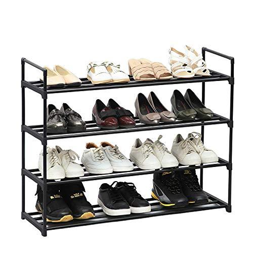 VANTTECH 4-stufiges Schuhregal Aufbewahrungsregal für 20 Paar Schuhe Schwarz 74 x 90 x 29,5 cm