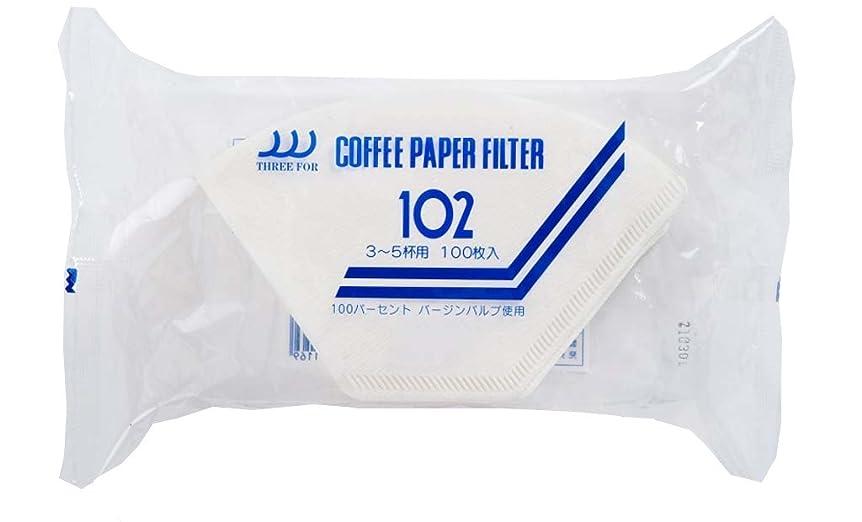 ラバ想像力あそこ三洋産業 THREE FOR (スリーフォー) コーヒーフィルター NOシリーズ 3~5人用 100枚 NO-102-100