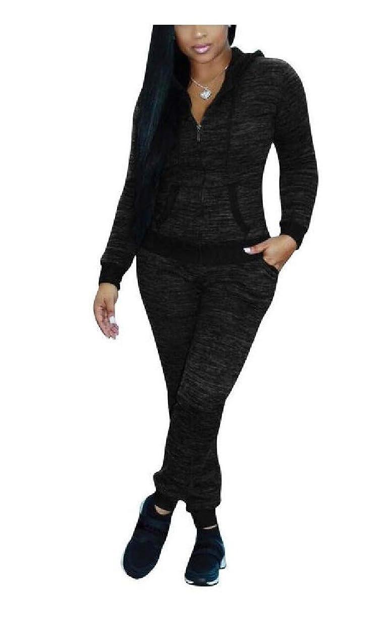 フォーク旋律的書き出すNicellyer 女性ナイトクラブスタイルプラスサイズ長袖フード付きトラックスーツジョグセット