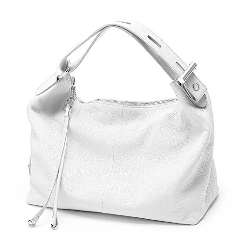 Zency 6 Colors Fashion 100% Real Genuine Leather Women Shoulder Bag OL Style Handbag Lady Casual Tote (White)