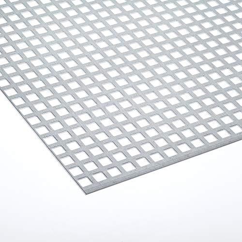 Lochblech Edelstahl QG 10-15 beidseitig geschliffen/Alu RV 5-8 / Stahl Verzinkt QG 10-15 / Stahl Verzinkt RV 5-8 - 1,5mm dick Zuschnitt individuell auf Ma§ NEU (1000 mm x 550 mm, Verzinkt QG 10-15)
