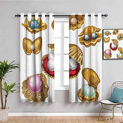 LucaSng Cortinas de Opacas - Dibujos Animados Color Perla mejillón - 140x100 cm - para Sala Cuarto Comedor Salon Cocina Habitación - 3D Impresión Digital con Ojales Aislamiento Térmico Cortinas