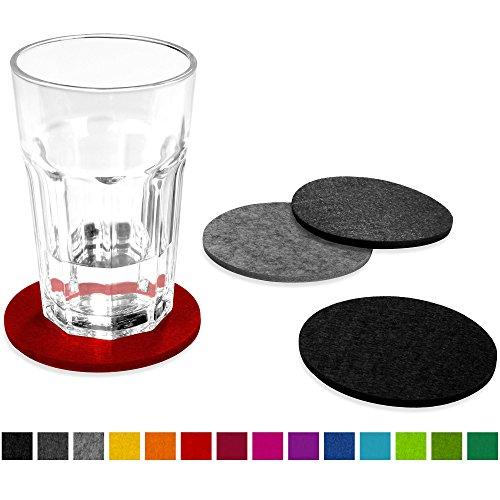FILU Filzuntersetzer rund 8er Pack (Farbe wählbar) Mix Rot, Hellgrau, Dunkelgrau, Schwarz - Untersetzer aus Filz für Tisch und Bar als Glasuntersetzer/Getränkeuntersetzer für Glas und Gläser
