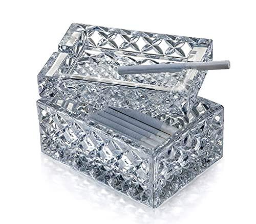 CESULIS Gran Capacidad Square Vidrio cristalino del cenicero Creativo de la Personalidad con la Tapa Mesa de Oficina en casa 12.5X9X7.5cm Regalos