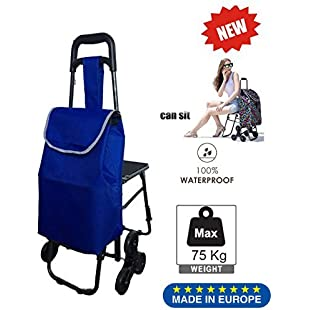 Customer reviews Tavalax Folding Shopping Trolley & 6 Wheels & Grocery Stair Climbing Cart & Waterproof & Seat design behind the cart:Eventmanager