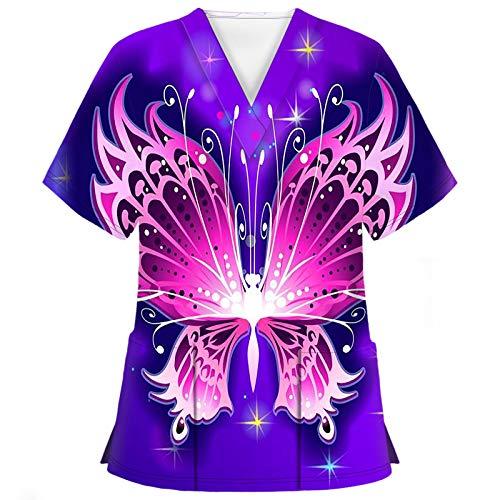 Hotkey Short Sleeve Tops for Women, V-Neck T-Shirts Floral Butterfly Print Carer Tops Nursing Working Uniform Blouses Shirts
