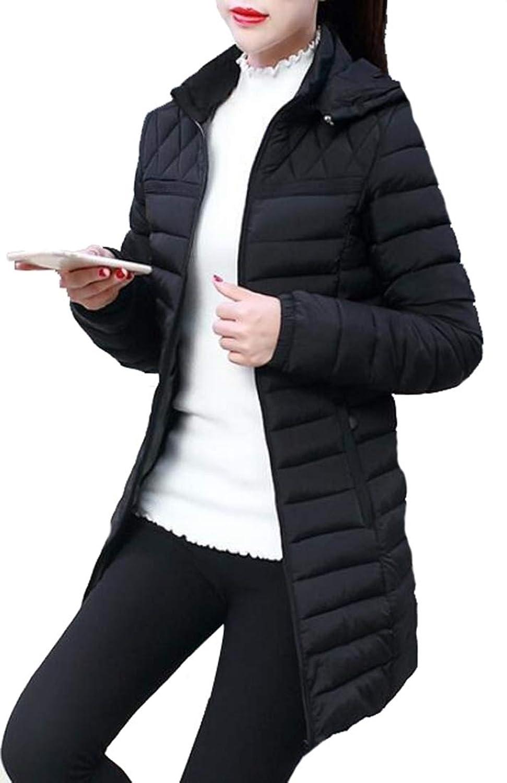 maweisong 女性の超軽量フードパッケージ付きミッド丈ダウンジャケット