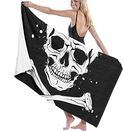 BAOYUAN0 Toallas de Playa Accesorios de ba?o Toallas de ba?o Bandera Pirata Negra Toalla de Playa de Microfibra para s Toalla de ba?o Multiusos de Alta absorci¨n Gimnasio SPA de Playa