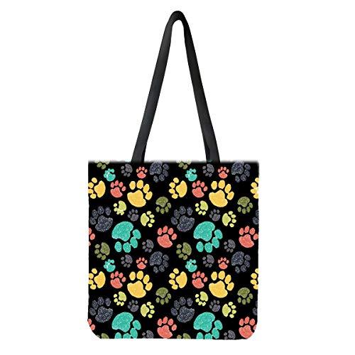 chaqlin Lindas bolsas de lona de huellas de perro para mujeres, regalos de gran capacidad, reutilizables, bolsas de comestibles de moda, casual, para viajes al aire libre, playa, compras