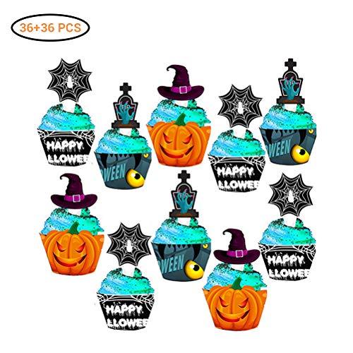 Halloween cupcake-wrappers en toppers, 36 stuks, voor Halloween, cupcake-wrappers