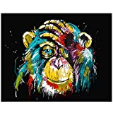 Tanness Paint By Numbers For Adults Kids Canvas DIY Painting Kit Oil Drawing with Paintbrushes Home Decoration (Orangutan)