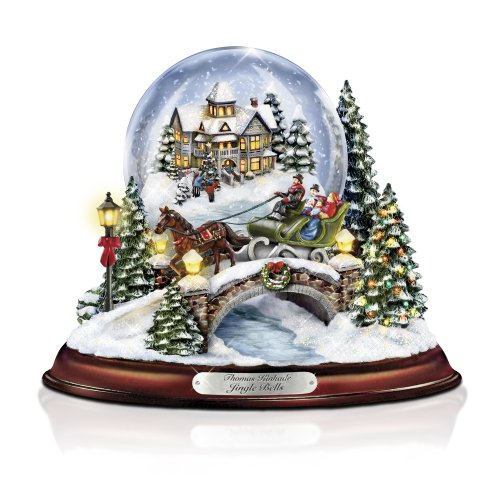 The Bradford Exchange Thomas Kinkade Jingle Bells Illuminated Musical Christmas Snowglobe